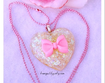 Heart Necklace , Cellophane Heart Necklace , SALE Pink Large Resin Heart Necklace, Kawaii, Scene, Birthday,  By: Tranquilityy