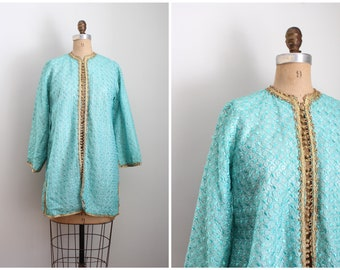 60s spearmint green embroidered kaftan jacket - Moroccan jacket / 1960s Indian jacket - hippie luxe / metallic gold lurex trim & buttons