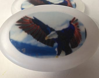 Eagle Soap - Eagle soap with the American Flag - Soap with Water Soluble Paper - OilPatchFarm - Fourth of July