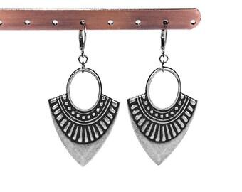 Boho Earrings, Gypsy Earrings, Silver Dangle Earrings, Tribal Earrings Hoop Earrings, Lightweight Earrings, Boho Jewelry, Steampunk Boutique