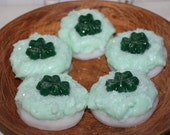New- IRISH CREAM Scented Large Primitive Glitter Shamrock Sugar Cookie Wax Tarts Melts Bowl Fillers Decor- St Patrick's Day