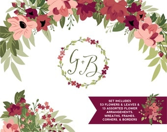 Burgundy & Greenery Flower ClipArt | Tawny Port and Ballet Slipper Blush Flowers, Leaves Wreaths Branches and Borders