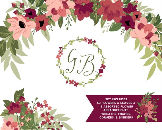 Burgundy Amp Greenery Flower Clipart Tawny Port And Ballet