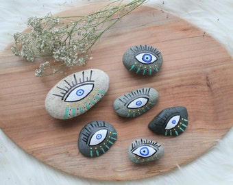 Painted Rock | Protection | Evil Eye | Talisman | Made to Order