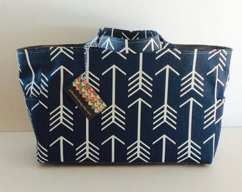 MADE TO ORDER Arrow Diaper Bag, School Bag, Work Bag, Navy Blue/White, Gray Waterproof lining, Magnetic snap closure