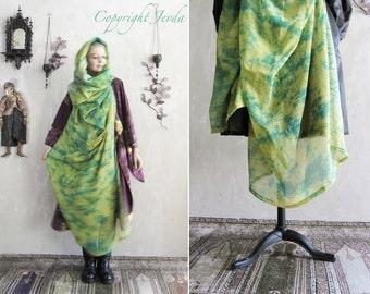 Hooded Scarf, colorful scarf, boho silk scarf, unique gift for her, Infinity Scarf, Oversized Scarf, Gypsy Clothing, Gypsy Shawl, ooak scarf