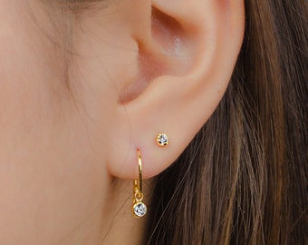 Zirconia Dangle Earrings, Sterling Silver, Gold Plated, Pendulum Earrings, Minimalist Drop Earrings, Fashion Jewelry, Gift mom, DGE003WCZ