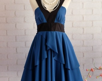 Cobalt blue dress Retro vintage dress style party Retro dress dark blue prom dress blue cocktail dress blue bridesmaid dress blue dress