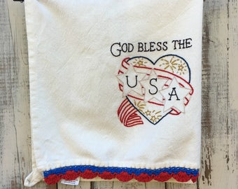 Hand Embroidered Patriotic God Bless The USA Towel Red White and Blue