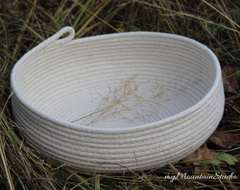Natural Rope Basket. Handmade Oval Basket. Home Decor. Made in Montana. myMountainStudio Baskets. OOAK Basket 006. Ready to Ship.