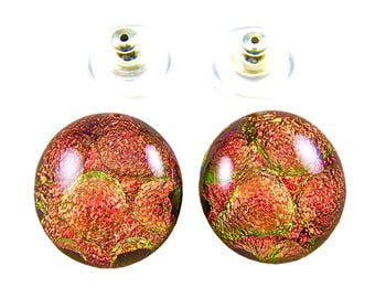 "Dichroic Studs Earrings - Rusty Red Copper Orange - Round Bubbles Radium Post or Clip On - 1/2"" / 12mm"