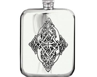 6oz Pewter Celtic Hip Flask