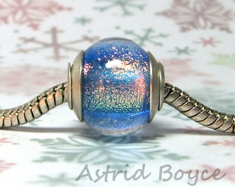 Frozen Aurora artisan lampwork European large hole bead -  SRA B-195 - stocking stuffer bracelet charm in sterling silver and dichroic glass