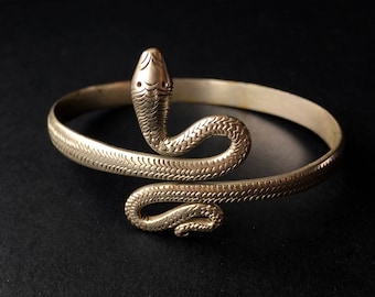 Vintage Victorian Sterling Silver Snake Bracelet Cuff Bypass Jewelry
