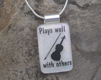 Violin Music Pendant Necklace Dichroic Fused Glass Violin Jewelry