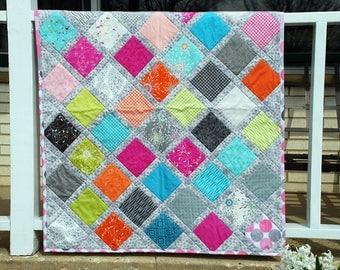 Baby Girl Quilt - Modern Patchwork - Bright Baby Blanket -- Moda Flow