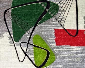 Innovation! Jiffy POP mts Jetsons 1950's Mid Century VTG Barkcloth Fabric Retro MCM Pillow Cushion Piece Remnant Upholstery Rattan Modern