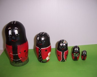 Hand painted Lady Bugs Collection stacking nesting doll set