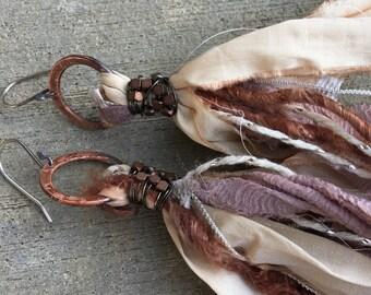 Recycled Sari Silk Boho Earrings