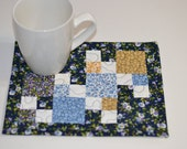 Mug Rug, Mini Placemat, Quilted Cotton Coaster, Little house on the prairie fabric, Andover