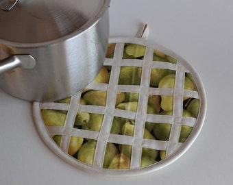 Pear Pie Hot Pad Pot Holder, kitchen fruit decor