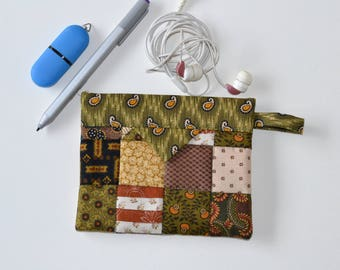 Cotton Snap Pouch, Cosmetic Pouch, Patchwork Quilted Jewellery Bag, Fabric bag