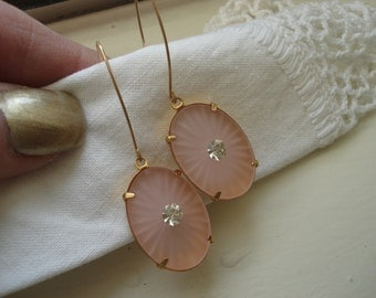 Vintage Art Deco Frosted Blush Pink Lalique Inspired Starburst Camphor Glass Gold Pierced Earrings Rhinestone 1920's Luminous