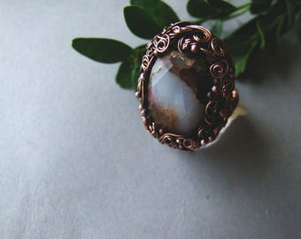 Earth Gemstone Ring, Statement Ring, Wire Wrapped Copper Ring, Big Woodland Gemstone Ring