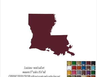 "Louisiana map metal wall art - 17"" wide - LA wall decor - choose your color - USA art state wall art - New Orleans Baton Rouge Shreveport"