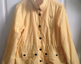 Womens vintage 90's canary yellow windbreaker jacket with hoodie size Small