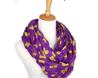 Infinity Scarf Infinity State Scarf-Purple/Yellow (Louisiana State Shape)