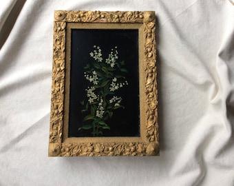 Antique Oil Painting - c.1900 Framed Botanical Painting- Cottage Style Art-Flowering Jasmine