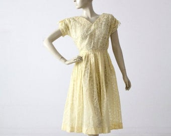 SALE vintage 50s yellow dress, new look yellow semi-sheer floral dress