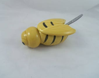 Vintage 1950s Bee Honey Pot Jar Bumble Bee Mid Centry Collectable Tableware Cottage Decor Country