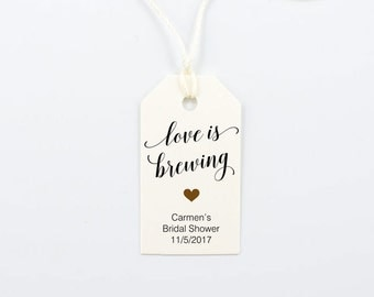 Love is Brewing, Wedding Favor Tag, Bridal Shower, Engagement Party, Rehearsal Dinner, Coffee Tea - Size 1.25 x 2.25 inches, Set of 25, BELA