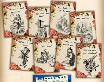 Alice Party Tags No 6, Alice in Wonderland Tags, labels, perfect for parties, presents and invitations