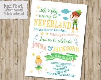 Neverland Birthday Invitation,  Peter Pan Birthday Invitation, Second Star to the Right, Tinkerbell Birthday Invitation, Neverland Party