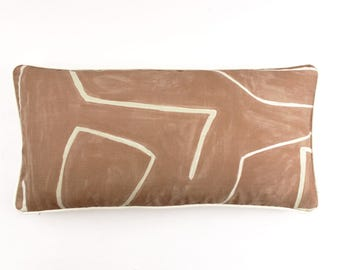 ON SALE Kelly Wearstler Graffito Pillows in Salmon/Cream with Ivory Welting (12 X 24)