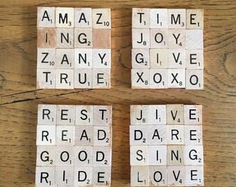Scrabble Coasters-set of 4 Inspirational