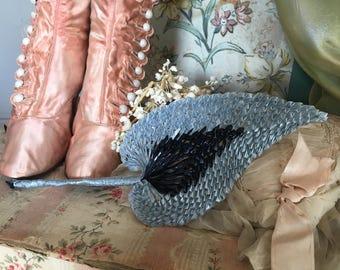 Vintage Hat Millinery Large Leaves Flower Glazed Straw Italy Blue Black   Shabby chic