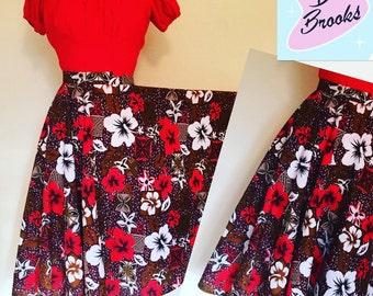 Vintage 1950s inspired Hawaiian print cotton full circle skirt with pocket