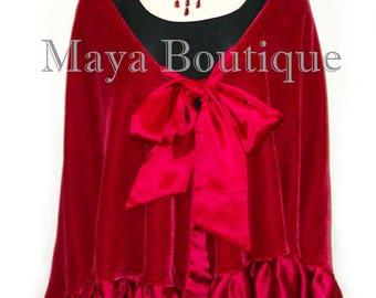 Red Reversible Silk Velvet Cape Capelet Shawl Wrap With Ruffles Maya Matazaro