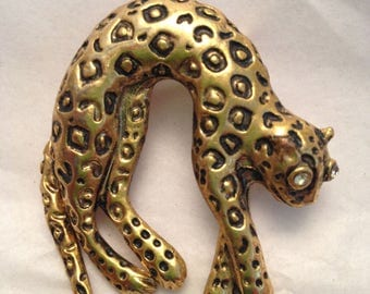 Costume Jewelry Gold Colored Leopard Cat Lapel Pin Brooch With Faux Diamond Eyes Moving Tall Arched Back Wild Cat