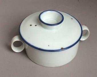 Vintage Dansk Designs NR Blue Mist Covered Ceramic Sugar Dish Denmark