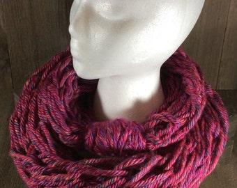 Super Bulky Arm Knit Infinity Scarf ~ Phoenix Azalea