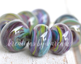 lamp work beads...SRA handmade, watercolor swirls lampwork beads, soft colors, beads set of (8) for making jewelry 11117-10