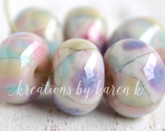 lamp work beads...SRA handmade, pastel lavender, pink shades of lampwork beads, soft colors, beads set of (6) for making jewelry 12417-7