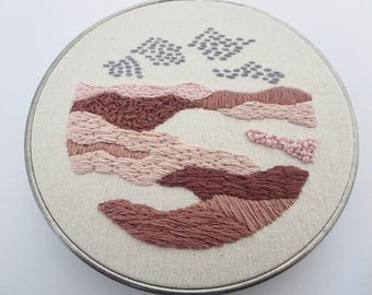 Modern Embroidery Hoop Landscape Art Small Wall Art Pink Brown Art
