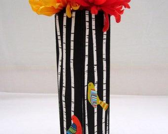 Birch Tree Birds Tall Fabric Vase black and white stripes