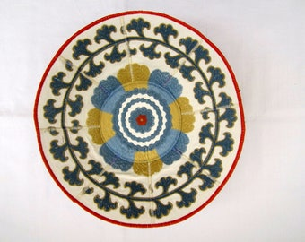 Embroidered Cornflower fabric bowl blue and gold